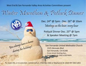 West End & San Fernando Valley NA Activities Committee Christmas Day Marathon