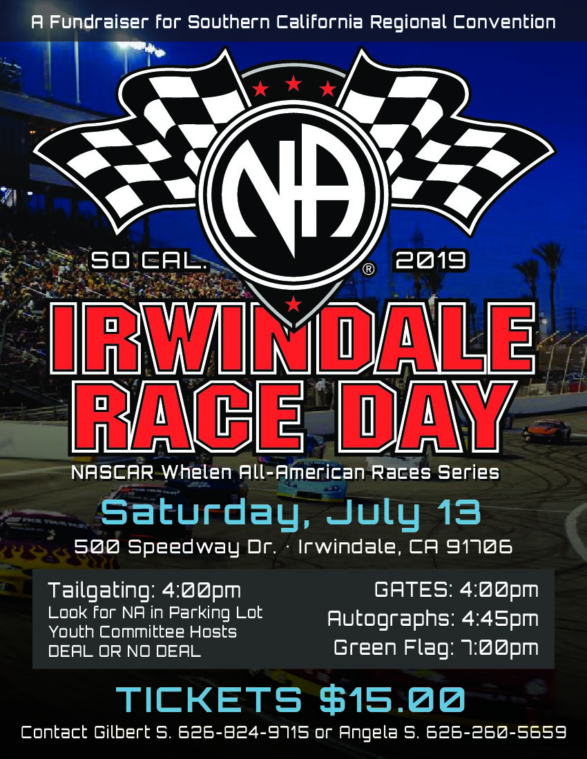 Scrcna Irwindale Speedway Nascar Race Day Fundraiser Narcotics Anonymous San Fernando Valley